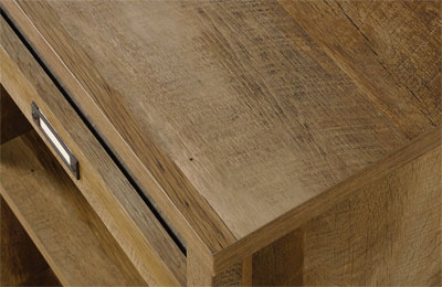 Close-Up of Wood Detail on Sauder 9 Cubby Storage Unit
