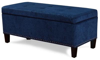 Blue Tufted Adeco Storage Ottoman