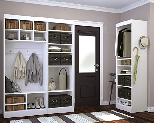 Bestar Mudroom Set in White, Divided into Sections