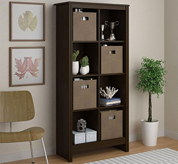 8-Cub Altra Furniture Cubby Bookcase with 4 Slide-Out Storage Bins