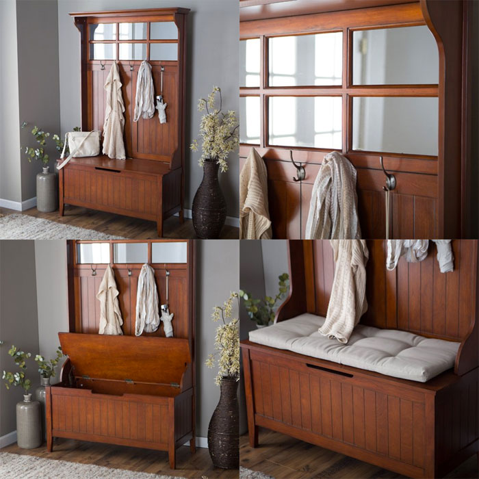 Entryway Hall Tree Storage Bench Great Value