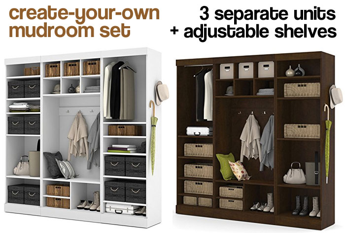 Mudroom Sets Showing Different Shelving and Storage Options