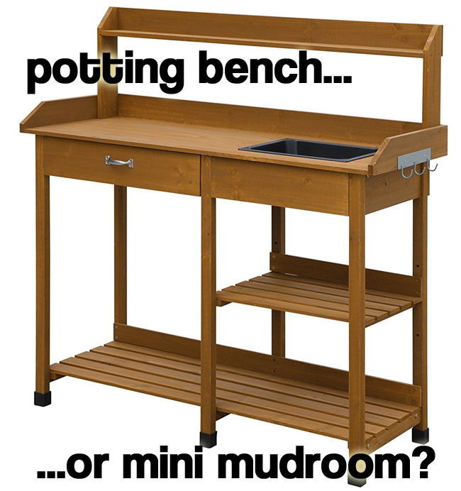 How to Turn a $100 Potting Bench into a Mini Mudroom