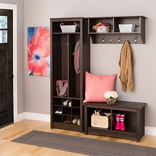 Prepac 3-Piece Entryway Set with Bench, Locker, Hooks and Shelves