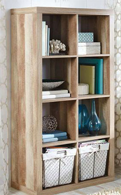 8-Cubby Weathered Cube Storage Unit Upright Against Wall